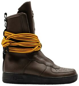 Nike-Men-039-s-Size-9-5-SF-Air-Force-1-High-039-Baroque-Brown-039-Yellow-Ochre-AA1128-204