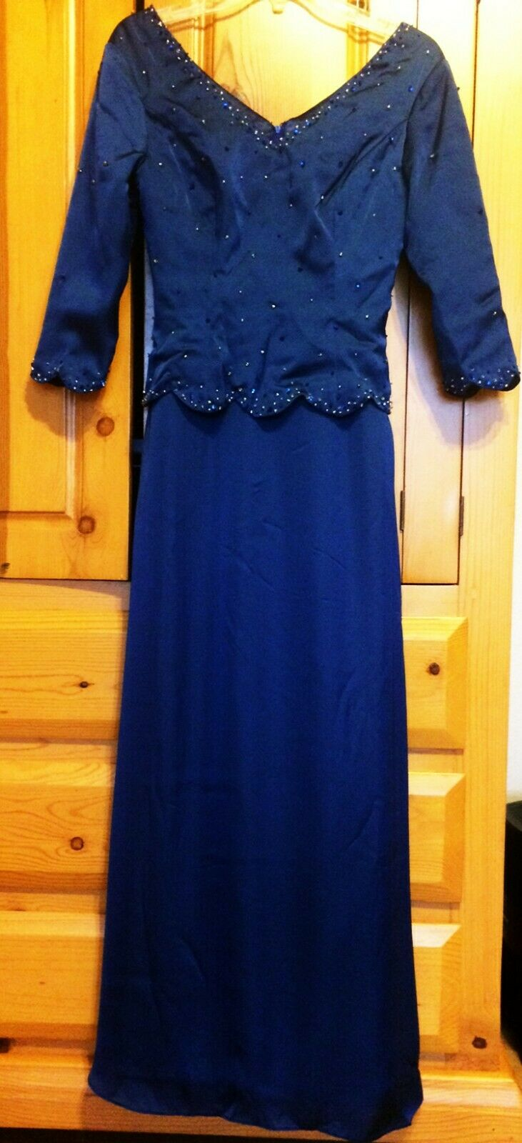 Mother of Bride Dress A-Line Formal Gown Beaded V-Neck 3/4 Sleeves Navy sz 2, 0