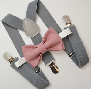 Kids-Boys-Mens-Gray-Suspenders-amp-Dusty-Rose-Pink-Bow-tie-Infant-ADULT-SET