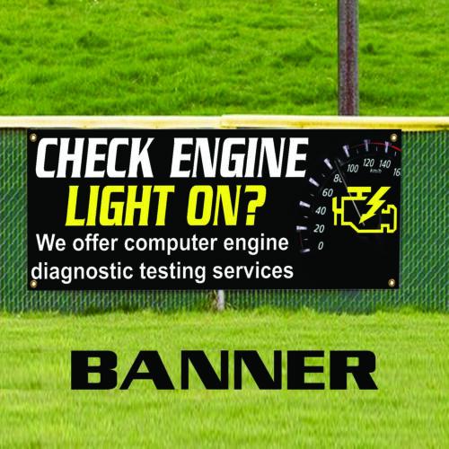 Automobiles Workshop Advertising Vinyl Banner Sign Check Engine Light On