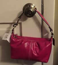 NWT Coach Patent Leather Pleated Top Handle Zip Bag Z46474 Magenta  Purse
