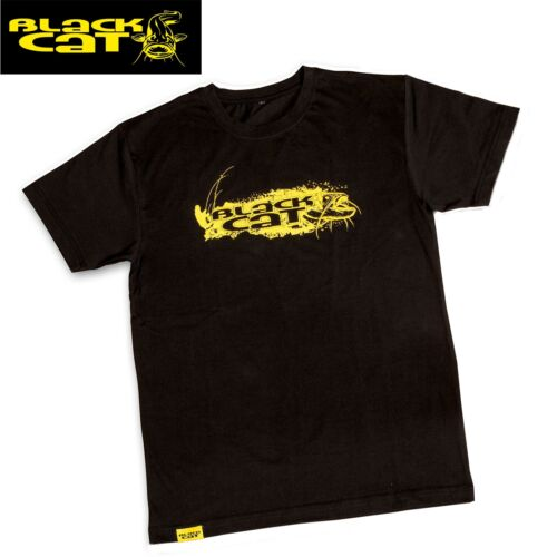 Black Cat T-Shirt schwarz Anglershirt Angelshirt für Wallerangler TShirt