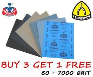 Sec-et-humide-papier-de-verre-60-7000-Grain-Klingspor-amp-STARCKE-Matador-mixte-papier
