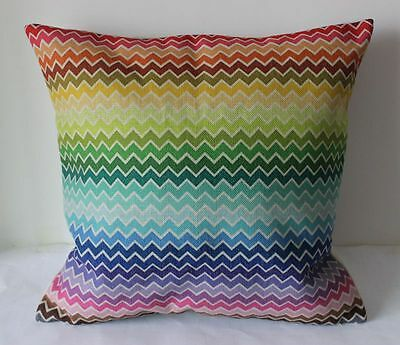 Vintage Colorful Zig Zag Cotton Linen Cushion Cover Throw Pillow Home Decor B293