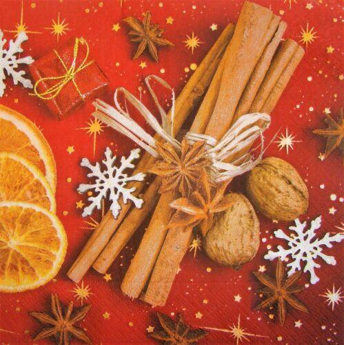 4 x Single Paper Napkins Decoupage Craft Table Christmas Vanilla Nuts 155