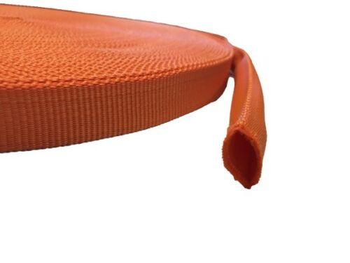 aus Polypropylen Bänder ORANGE Röhrchen 20mm breit 10 Meter lang Gurtband