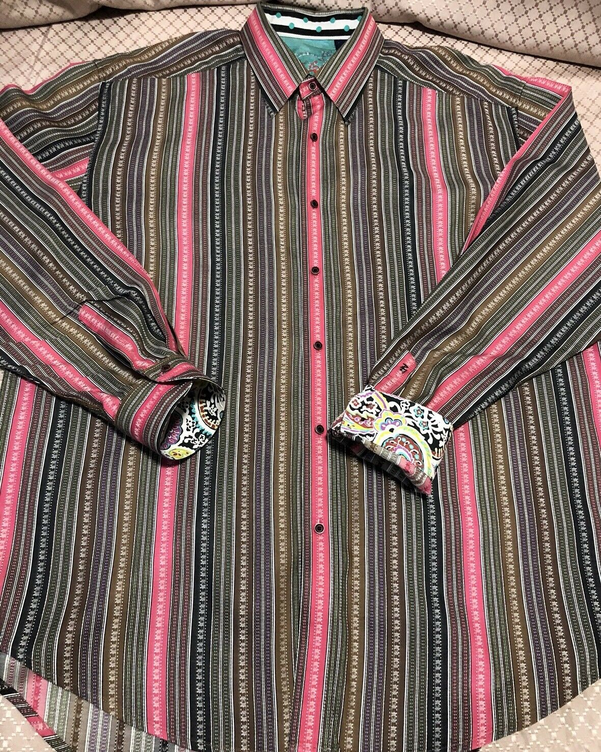 Robert Graham Striped Contrast Flip Cuff Button Front Shirt 2XL Pink Brown