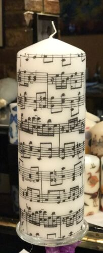 """Music Sheet///""""MUSICA /""""design hand decorated pilier bougie 20x7cm"""