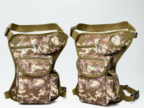 Men Tactical Motorcycle Riding Hiking Fanny Pack Waist Thigh Drop Leg Bag Canvas