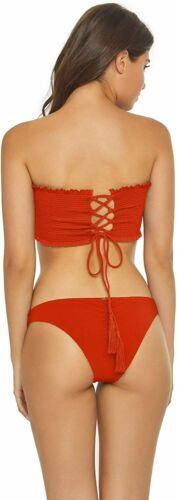 US Large PilyQ LUST Reversible Smocked Lace-up Bandeau Swim Top