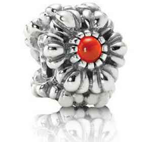 Pandora Retired Silver Carnelian July Birthstone Charm 790580car