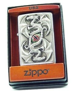 TWIN DRAGON EYE Chrome Brushed EMBLEM-ZIPPO in Holzbox neu+ovp
