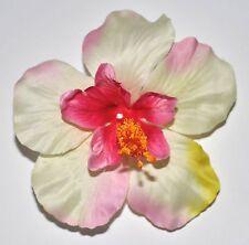 """4"""" Pink & Cream Single Hibiscus Silk Flower Hair Clip Pinup Luau Tropical"""