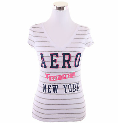 Aeropostale Women Casual Striped V-Neck NW  87 T Shirt Style 2123-Free $0 Ship