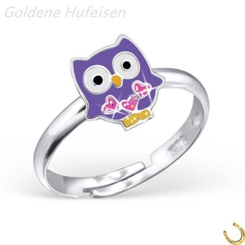 Lila lechuza con corazón anillo 925 Sterling plata chica niños//6141v 8mm