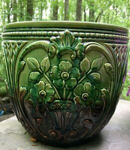 Vintage-Weller-Art-Pottery-Jardiniere-Planter-Green-Brown-Blended-Glaze-Weller