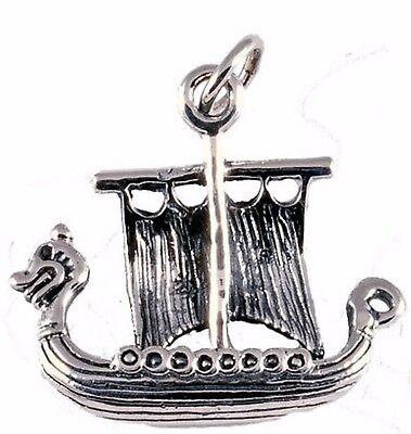Pflichtbewusst Wikinger Boot Drachenschiff Anhänger 925 Sterlingsilber Mittelalter Drachenboot