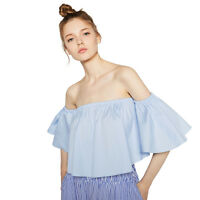 Women Sexy Ruffles Flare Sleeve Shirt Off Shoulder Blouse Girl Smock Fashion Top