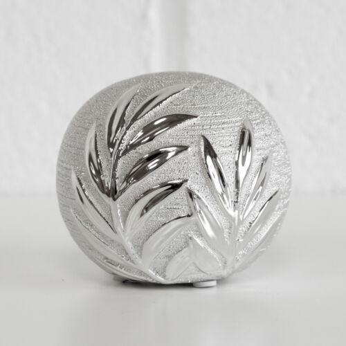 3 x 9 cm argent ornement floral feuilles Céramique Boules ornement Sphère Décorative