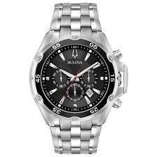 Bulova Men's Quartz Chronograph Black Date Calendar Dial 45mm Watch 98B333