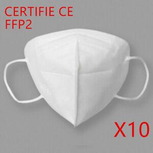 Masque de Protection FFP2 Adulte Filtres Certification = Pack de 10 Neuf