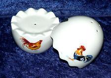 Chicken Cockrels rooster  design  bone china 2 part egg cruet salt & pepper set
