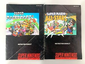 Mario Kart & All Stars Super Nintendo Instruction Manual Booklet Book Lot