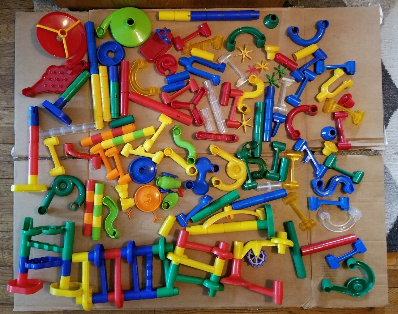 Marble Race Run Maze Works Construction Building Toys Chutes Bridges MASSIVE LOT