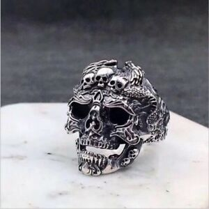 Men-039-s-Stainless-Steel-Silver-Skull-Finger-Rings-Fashion-Cool-Gothic-Punk-Jewelry