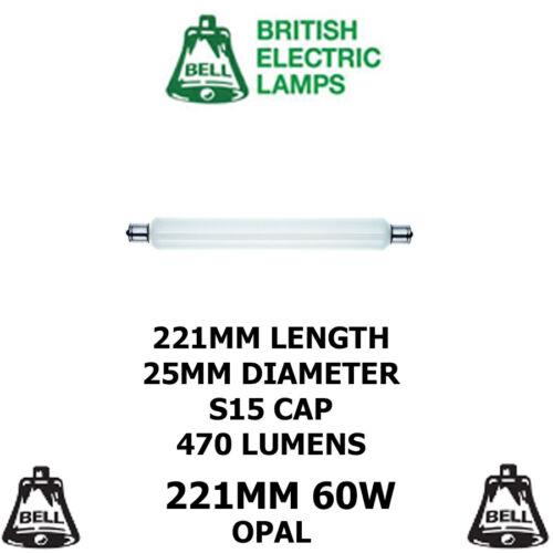 5 x BELL STRIPLIGHT 221MM 60 WATT OPAL INCANDESCENT TUBULAR S15 DOUBLE ENDED NEW