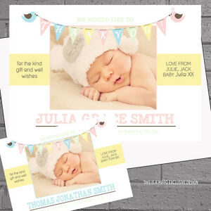 Personalised-Baby-Thank-you-Cards-Birth-Announcement-Photo-Birdies-x50