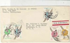 Philippines 1964 Airmail to USA Manila Cancel Olympics Stamps Cover Ref 23435
