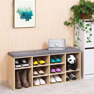 Wooden Shoe Rack Cabinet Storage Bench Cupboard Hallway Seat With