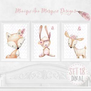 3x-Kinder-Baby-Zimmer-Bild-er-Wald-Tiere-Poster-Tierbild-Bilderset-DIN-A4-SET18