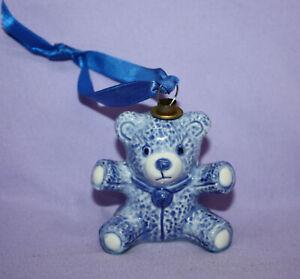"Porcelain Teddy Bear Ornament ~ White with Blue ~ 2-1/2"" Tall ~ EUC ~ Vintage?"