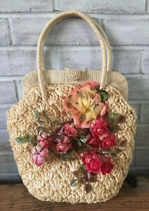Vintage-Hollywood-Shaggee-Ricci-Plastic-Straw-Wicker-Purse-Handbag-Flowers-Japan