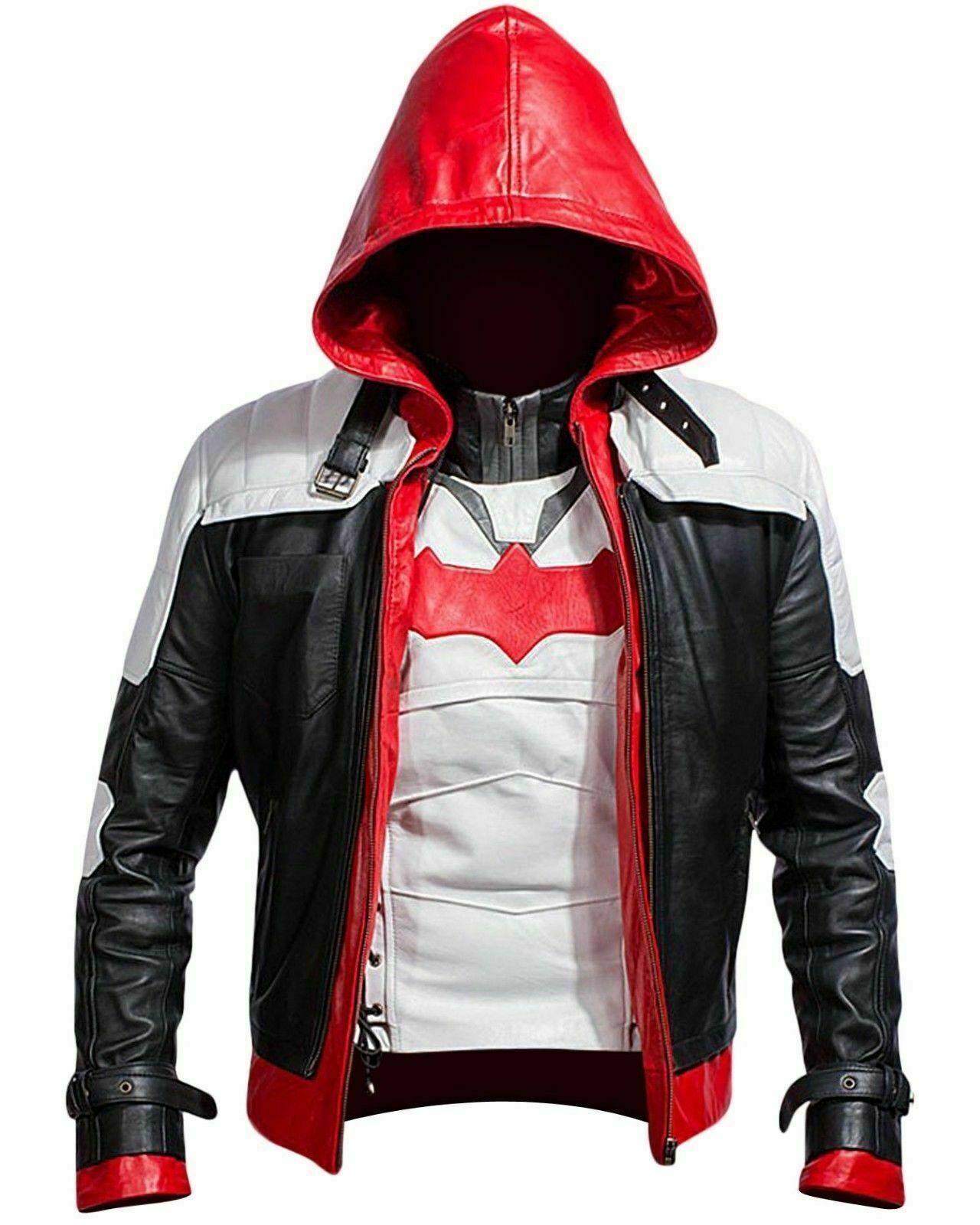 Batman Arkham Cavaliere  Gioco Cappuccio rojo pelle Giacca Giubbotto hombres  al precio mas bajo