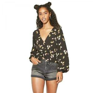 NWT-Wild-Fable-Women-039-s-Floral-Print-Long-Sleeve-Twist-Top-Blouse
