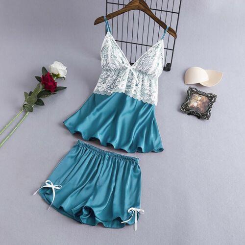Women Satin Lace V-Neck Camisole Bowknot Shorts Set Sleepwear Pajamas Lingerie