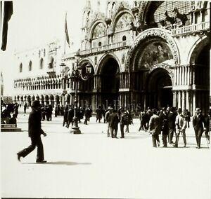 ITALIE-Venise-Place-Saint-Marc-c1900-Photo-Stereo-Grande-Plaque-Verre-VR9L7n1