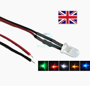 DC12V-5mm-Lampadina-LED-Pre-Cablato-Diodi-LED-Piccolo-18cm-Filo-per-Hobbisti