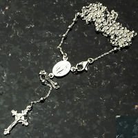 Silver Bead Rosary 2.5mm-24 .925 Sterling Silver Chain 24 on sale