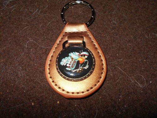 DODGE SCAT PACK BEE ON WHEELS 1968 1969 1970 1971 GOLD LEATHER KEYCHAIN KEYRING