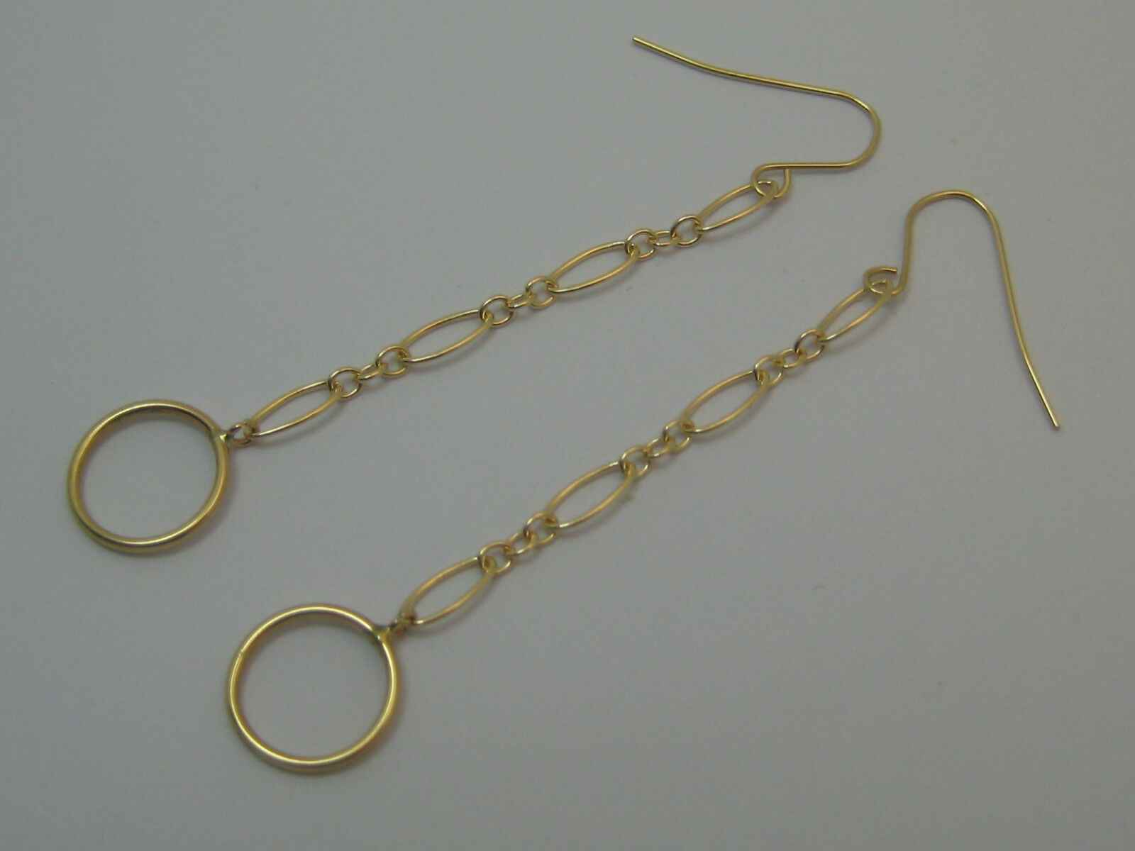 Solid 14k Yellow gold Long And Short Chain With Circle Ear Wire Earrings