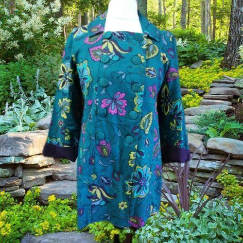 tissé imprimé Nomades en sarcelle coloré manteau Fairtrade coton floral Boho rétro W6zBqXr6x
