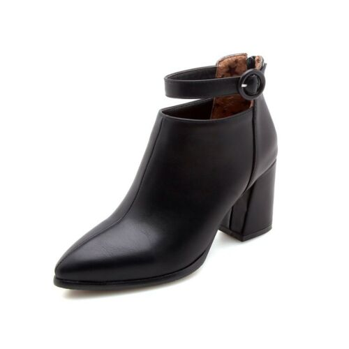 Women Ladies Chunky Block High Heel Buckle Ankle Boots Casual Shoes Plus Sz2.5-9