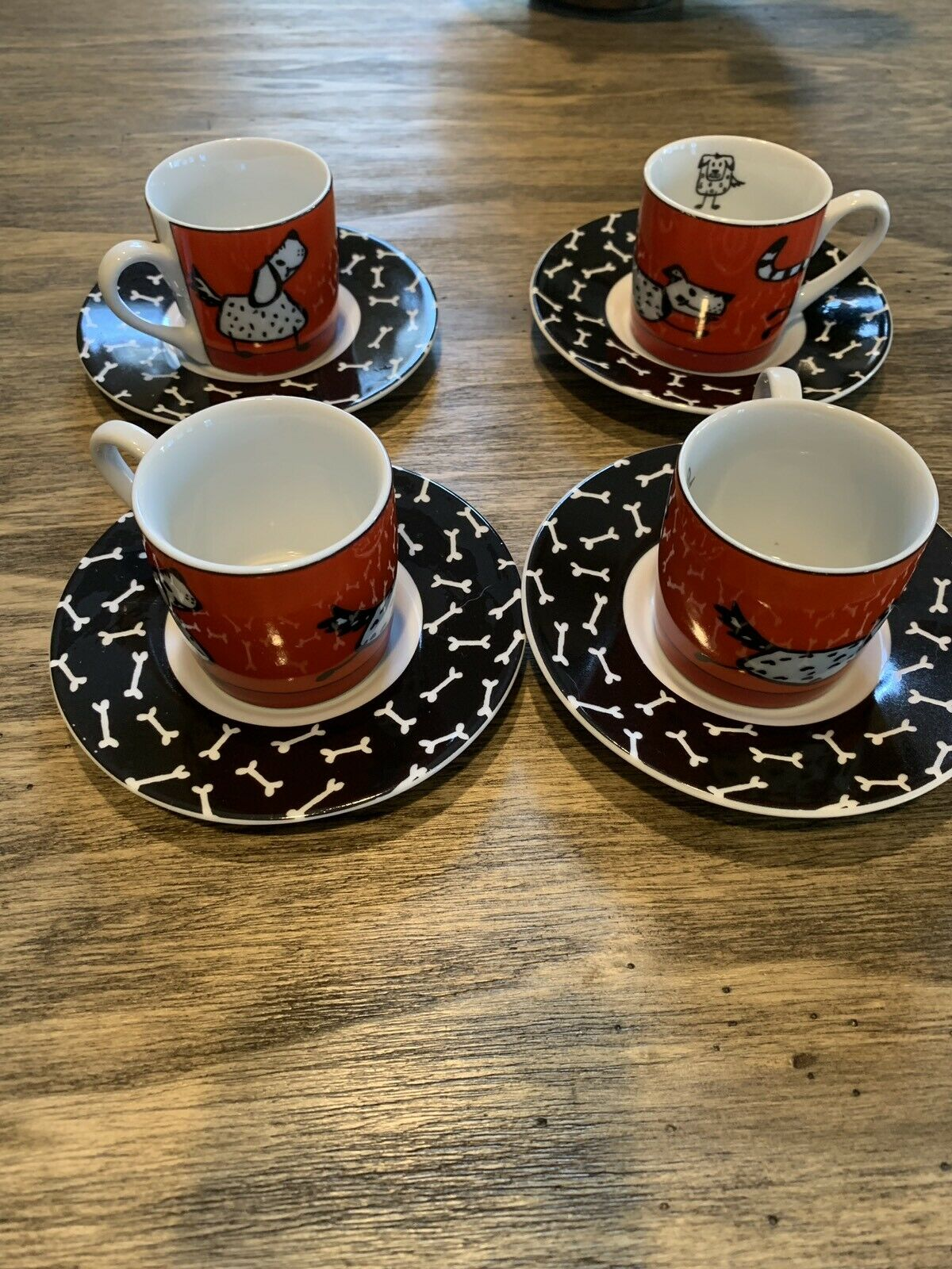 KONITZ Espresso Mugs Saucers Dogs Chasing Cats Bones Set Of 4 Four