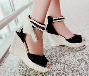 5eac71675f5f Lady Wedge Platform Heel Open Toe Bead Sweet Summer Beach Sandal ...