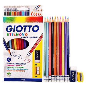 Giotto-Cancellabile-Matite-Colorate-Set-Includes-10-Matite-Affilacoltelli-amp