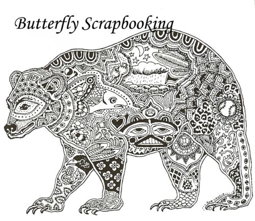 BEAR Animal Spirit Cling Unmounted Rubber Stamp EARTH ART Sue Coccia New